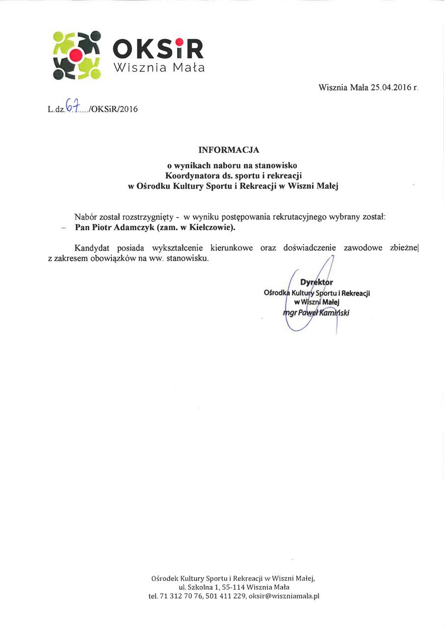 Informacja o wynikach naboru - koordynator ds sportu